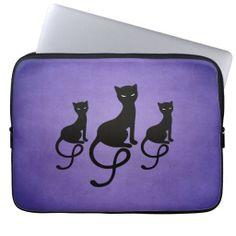 Purple Three Evil Gracious Black Cats Laptop Computer Sleeves $29.95 - Stylish black cat laptop sleeve with a beautiful illustration of three gracious evil black cats with glowing eyes on a grunge textured dark #purple background. This evil cat laptop sleeve will make a great gift for #cat lover. #laptopsleeve