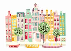 Canal houses and boats - Large A3 cityscape print. €25,00, via Etsy.