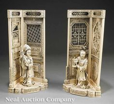A Pair of Chinese Export Carved Ivory Figural Corner Niches,