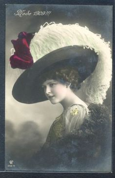 PM043-HIGH-FASHION-MODE-1909-BEAUTIFUL-LADY-FEATHER-HAT-Tinted-PHOTO-pc-GL-Co
