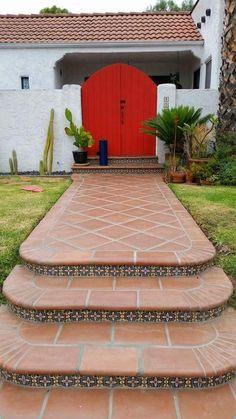 Saltillo Tiled Walks and Pavers Patio Tiles, Outdoor Tiles, Outdoor Flooring, Flagstone Patio, Backyard Patio, Rustic Staircase, Staircase Ideas, Tile Steps, Spanish Garden