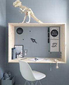 Desk inspiration for a boy's room. Nordic style soft grays combined with light wood, black and white. Science Bedroom, Nordic Bedroom, White Deck, Desk Inspiration, Kid Spaces, Home Interior, Boy Room, Kids Furniture, Black House