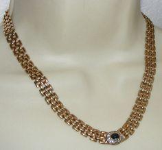 Vintage 1980's Rhinestone NECKLACE goldtone chain links costume jewelry signed | eBay
