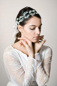 Bridal headpiece with handmade petals Silver by LilianaKrokodylu
