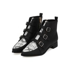 Black White Snake Leather Point Head Metal Buckle Straps Punk Rock... ($55) ❤ liked on Polyvore featuring shoes, boots, ankle booties, bootie boots, pointed booties, punk boots, leather bootie and pointy booties