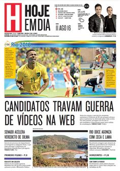 Capa do dia 11/08/2016 #HojeEmDia #Jornal #Notícias #News #Newspaper