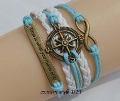 Infinity bracelets, the compass bracelet, right game bracelet-Light blue wax rope,pure white leather - mixed color bracelet