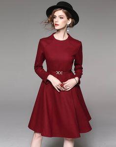 #AdoreWe WLZD Solid Wine Belted Long Sleeve Swing Midi Woolen Dress - AdoreWe.com