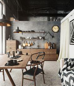 Cozy loft kitchen by kiltzer | Architecture | 3D | CGSociety