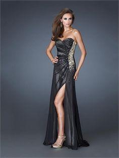 Gorgeous Black Sweetheart Beaded and Pleated High Slit Chiffon Prom Dress PD11404 www.dresseshouse.co.uk $119.0000