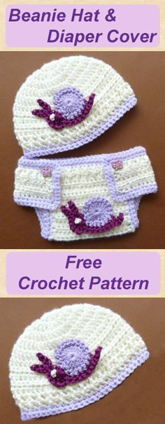 Beanie hat and diaper set, this is a free baby crochet pattern, cute and quick to work up, #crochet