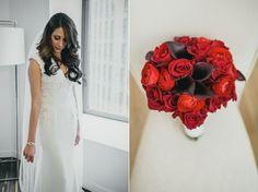 Brautkleid und kontrastvoller Brautstrauß in Rot