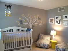 Baby Room:Amazing Gray Themed Baby Nursery Room Design With Yellow Table And White Baby Crib Also Chevron Lounge Sofa Plus Tree Wall Art Decal Calm Gray Baby Rooms Decor for Nursery Ideas
