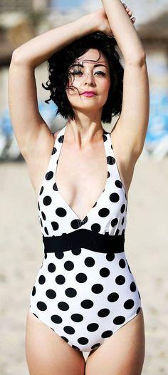 Polka Dot One Piece Swimsuit Beach Style
