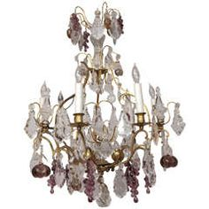 19th c. French Dore Bronze Crystal Chandelier with Fruit Detail