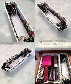 Simple Dimples: Bathroom Organization: magnetic strip along the edge of a basket to store hair clips Organization Station, Bathroom Organization, Storage Organization, Bathroom Ideas, Design Bathroom, Organized Bathroom, Bathroom Interior, Modern Bathroom, Small Bathroom