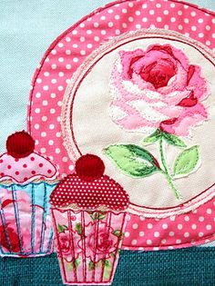 detail from applique picture: Jenny Arnott Want for my kitchen :) Applique Quilts, Embroidery Applique, Machine Embroidery, Sewing Art, Sewing Crafts, Sewing Projects, Patch Aplique, Free Motion Embroidery, Quilting