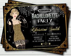 bachelorette invitation 1920s | Great Gatsby Bachelorette Party Inv itation. Great Gatsby Theme Hens ...