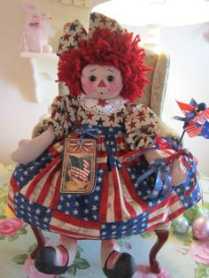 4th of JuLy CoLLecTiBLe PriMiTiVe SwEET RAGGEDY ANN DoLL w/windspinner