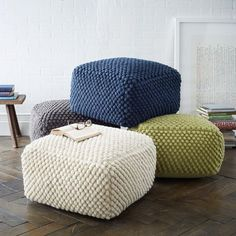 POUF, THERE IT IS! Ok, so who doesn't love a good pouf? If you aren't into poufs, I'd love to hear your argument.and I promise to do my best to respect your anti-pouf insight and not think you're. Pouf En Crochet, Bag Crochet, Free Crochet, Bobble Crochet, Knitted Ottoman, Knitted Pouf, Round Ottoman, Ottoman Stool, Square Ottoman