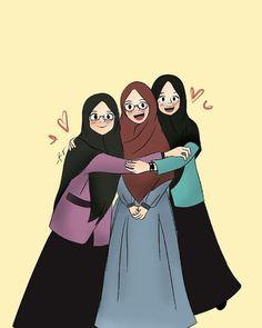 teman bahagia teman menuju surga - my ely Cartoon Kunst, Cartoon Art, Cartoon Images, Girl Cartoon, Cute Cartoon, Muslim Pictures, Hijab Drawing, Islamic Cartoon, Bff Drawings