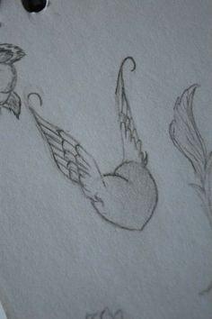 ⚪natta.lk @ instagram⚪ Teckning Hjärta Vingar Blyerts Drawing Heart Wings Graphite Blacklead Wingedheart