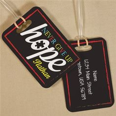 Never Give Up Hope Autism Awareness Luggage Tag