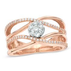 1/2 CT. T.W. Diamond Cluster Orbit Ring in 14K Rose Gold - View All Rings - Zales