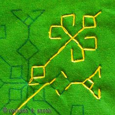 This lesson will teach you how to work kasuti on a plain fabric with a traced design. While using this method, the two stitches that can be done easily are… Kasuti Embroidery, Indian Embroidery, Blackwork, Hand Embroidery Tutorial, Hand Embroidery Designs, Line Patterns, Stitch Patterns, Kutch Work, Different Stitches