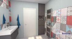 Mobile lavanderia su misura, nasconde la lavatrice e ha un cassetto a ribalta per i panni da lavare. #lavanderia #interiordesign #bagno