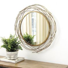 Need Suzanne Kasler Willow Branch Round Mirror? Shop Ballards home wall decor to create new style in your favorite rooms! Mirror Shop, Mirror Wall Art, Round Wall Mirror, Diy Mirror, Round Mirrors, Foyer Mirror, Mirror Crafts, Willow Branches, Home Wall Decor