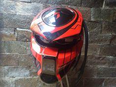 Red  Predator Mask Helmet Style  Motorcycle    DOT Approved by CelloShancangHelmet on Etsy