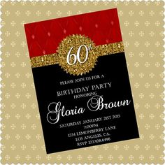 60th Birthday Invitations Digital Download by LemonberryBoutique