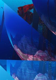 #landscape #terrain #mountains #geometric #blue #atmosphere #3d #cgi