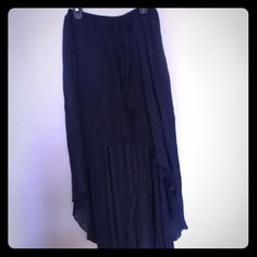 Flirty High Low Mini Skirt Attractive slate blue high low mini skirt.  Gauzy polyester and rayon material. Gently used.  Offers welcomed. Skirts High Low