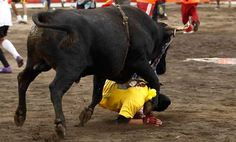 A bull hits a man during a traditional year-end bullfight festival in Zapote near San Jose.