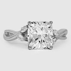 Platinum Willow Diamond Ring // Set with a 2.09 Carat, Cushion, Super Ideal Cut, G Color, VVS2 Clarity Diamond #BrilliantEarth
