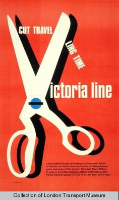 Cut travelling time; Victoria line, by Tom Eckersley, 1969 | Poster 1983/4/7727 - Poster and Artwork collection online from the London Transport Museum
