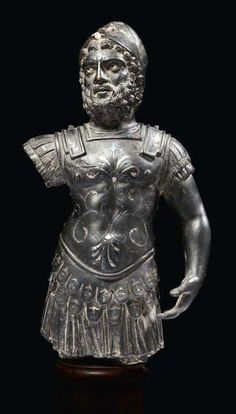 Roman bronze with silver inlays statuette of the god Mars Ultor. 2nd-3rd century A.D. 10,4 in. high.