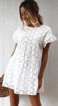 Product Details: Round Neck Short Sleeves with Ruffle Trim Tiered Lace Fabric Size Chart: Size Shoulder Length Bust cm inch cm inch cm inch S 38 15 89 35 94 37 M 39 90 98 L 40 91 102 XL 41 92 106 42 93 110 Elegant Dresses For Women, Simple Dresses, Cute Dresses, Casual Dresses, Short Dresses, Casual Outfits, Summer Dresses, White Summer Beach Dress, Beach Outfits