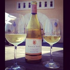 A beautiful bottle of Marimar Estate Chardonnay ready for sipping out on the patio.