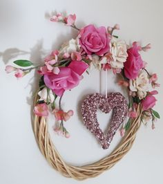 Sparkly Pink Heart Wreath Wedding by NakedAndTrimmedTrees on Etsy, $25.00