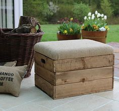 Upholstered crate footstool