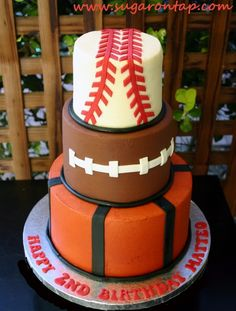 Sports Cake.. except making the baseball stitching correctly.
