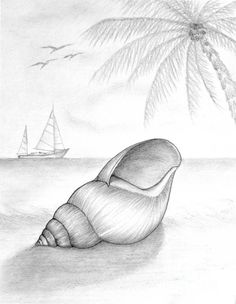 how the hierarchy captures your eye, first the shell and how this is darker and more shaded then the background of the palm tree and boats. its also seems like something simple and easy to re-create and adding much more detail with colour