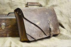 Leather Briefcase Anniversary Gift for Husband by DivinaDenuevo