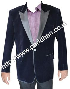 Slim fit one button north lapel coat made from navy blue color uncrushable velvet fabric. Dry clean only.