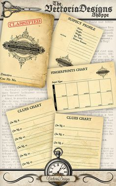Printable Private Investigator Detective Case File: print and have fun. This kit contains: - A Case File Cover: outside and inside - A Suspect Profile - A Fingerprints Chart - Clues Charts What you actually want to know: ° high quality (300 dpi) images on four 8.5 x 11 sheets for