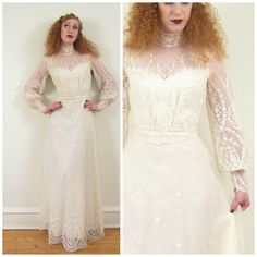 Vintage 1970s Wedding Dress with Lace Sleeves / by BasyaBerkman, $210.00