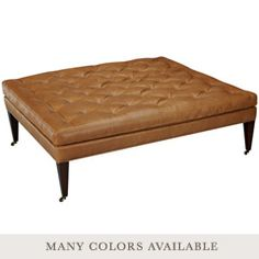 """Layla Grayce Hammond Leather Cocktail OttomanSquare - 42"""" square x 19""""H (may be a little large)"""